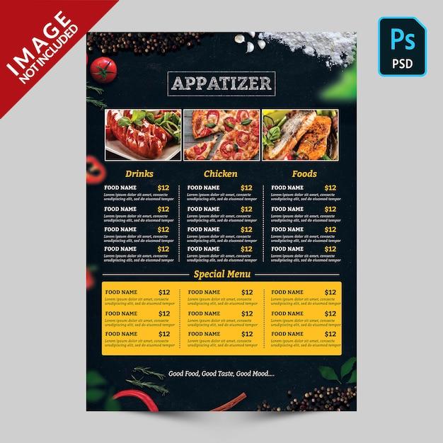 Donker voedselmenu met voedselbeelden Premium Psd