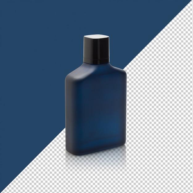 Donkerblauwe fles parfum mockup sjabloon voor uw ontwerp. Premium Psd