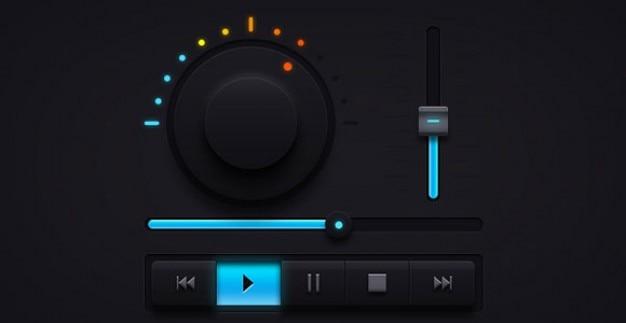 Donkere audio ui-elementen muziekspeler Gratis Psd