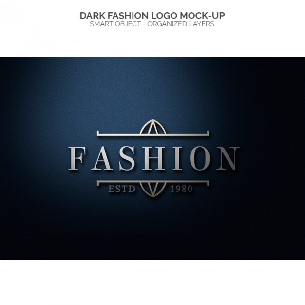 Donkere fashion logo mock up Gratis Psd