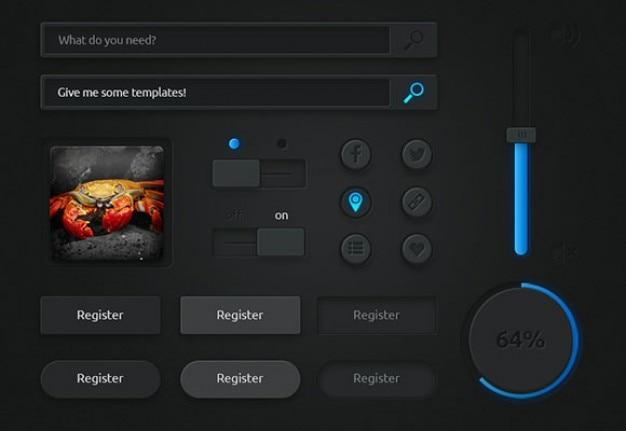 Donkere gebruikersinterface met blauwe lichten Gratis Psd