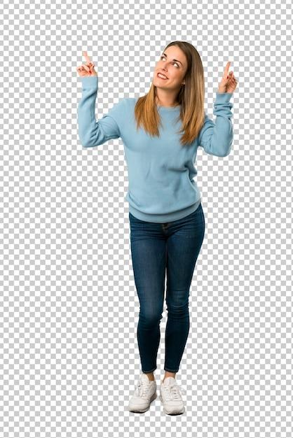 Donna bionda con la camicia blu che punta con il dito indice una grande idea Psd Premium