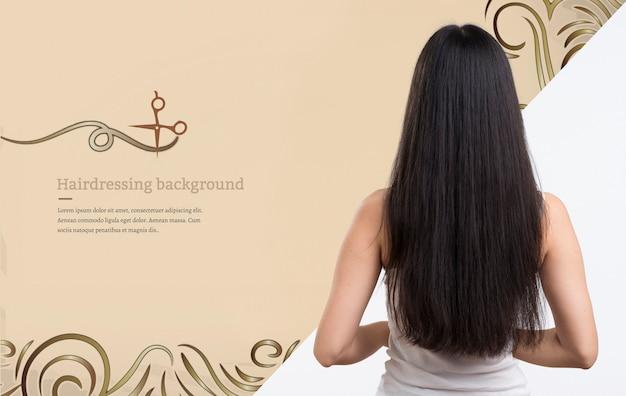 Donna con bellissimi capelli mock-up annuncio Psd Gratuite
