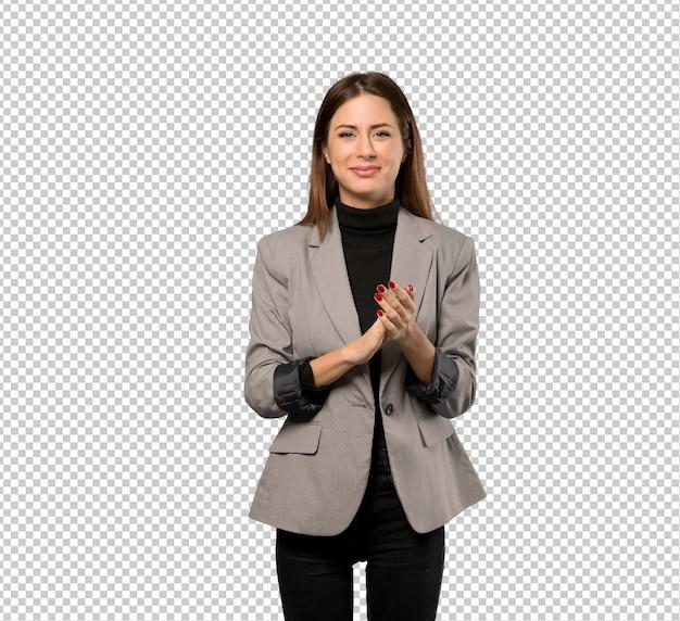 Donna d'affari che applaude dopo la presentazione in una conferenza Psd Premium