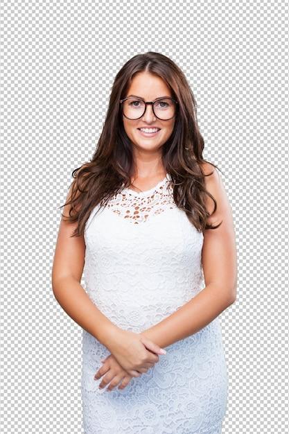 Donna graziosa che porta un vestito bianco Psd Premium