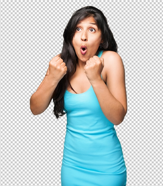 Donna latina che fa gesto del vincitore Psd Premium