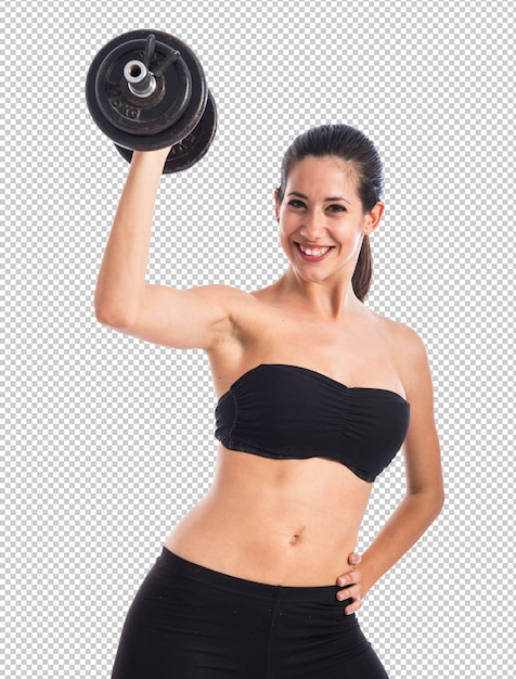 Donna sportiva che fa sollevamento pesi Psd Premium