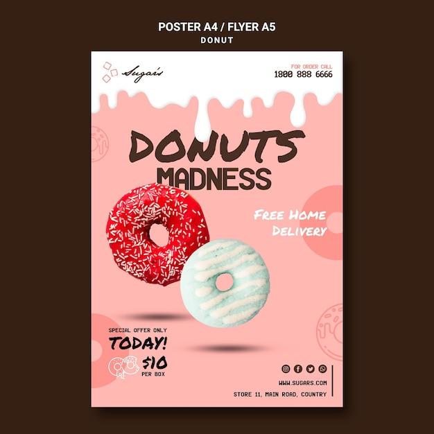 Donuts waanzin met verschillende smaken poster Premium Psd