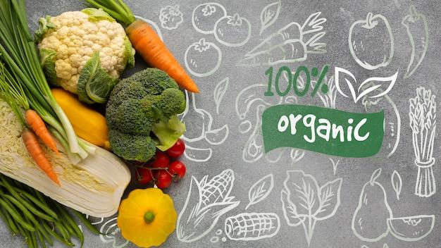 Doodle achtergrond met organische tekst en groenten Gratis Psd