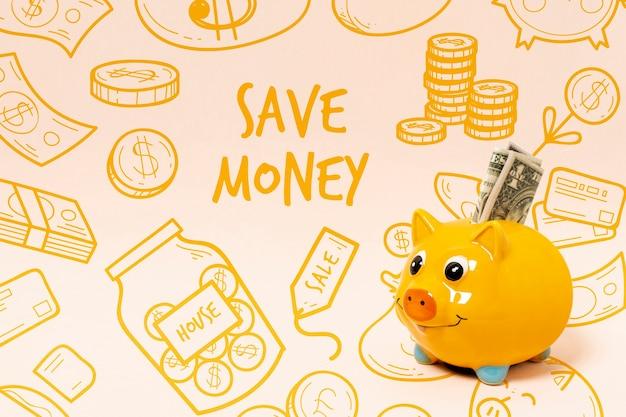 Doodle achtergrond met spaarvarken en geld Gratis Psd