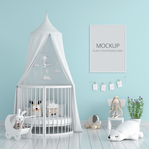Dormitorio infantil azul con maqueta de marco PSD gratuito