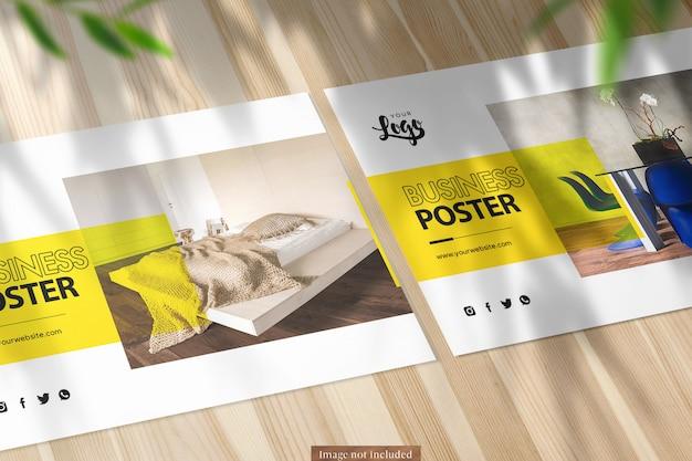 Dos paisaje a5 poster closeup mockup sobre fondo de naturaleza PSD Premium