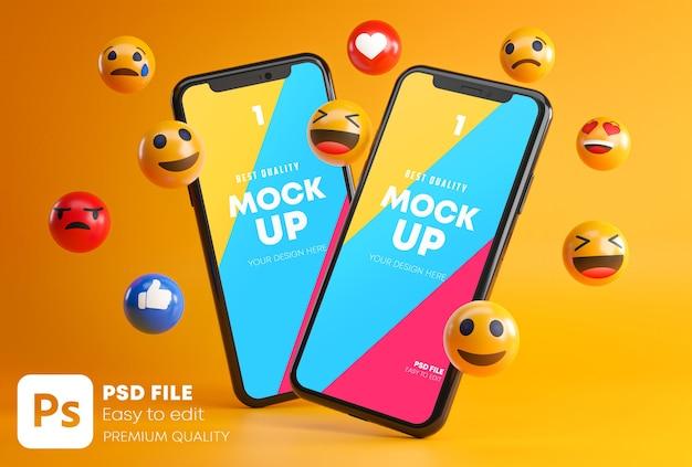 Dos smartphones entre emojis PSD Premium