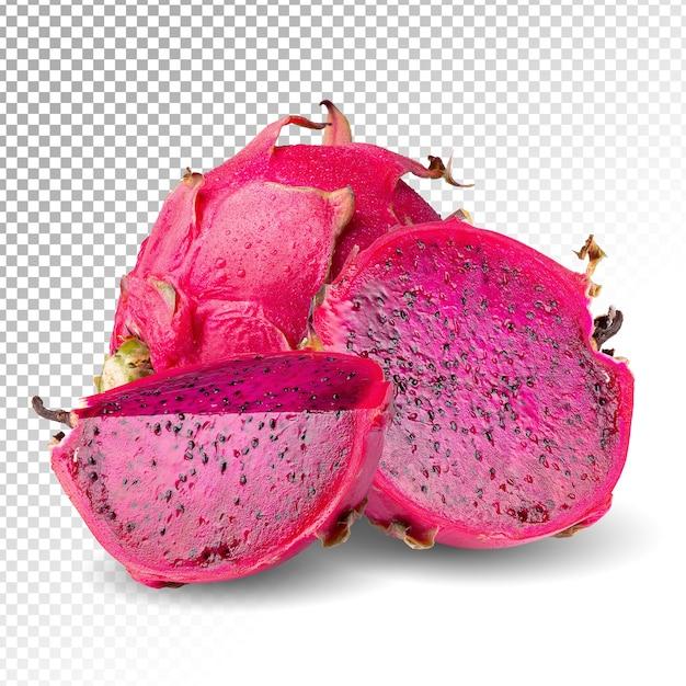 Dragonfruit of pitaya en gesneden geïsoleerd Premium Psd