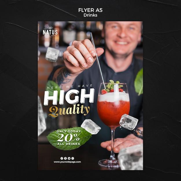 Drankjes concept flyer sjabloon Gratis Psd