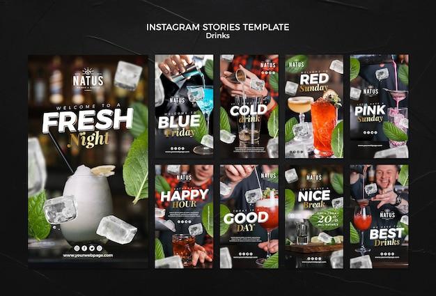 Drankjes concept instagram verhalen sjabloon Gratis Psd