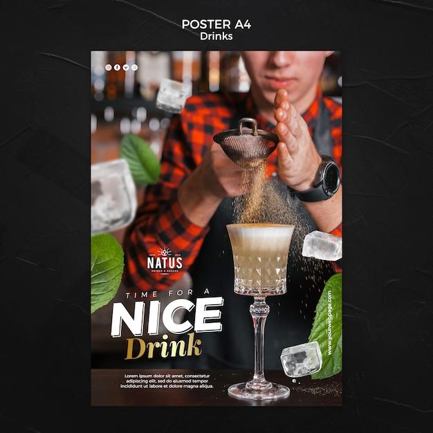 Drankjes concept poster sjabloon Gratis Psd