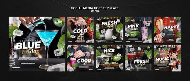Drankjes concept social media postsjabloon Premium Psd