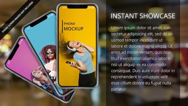 Drie apple iphone x op bokeh achtergrond Premium Psd