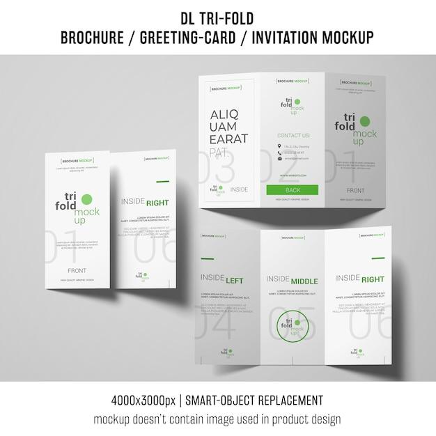 Drie driebladige brochure of uitnodigingsmodellen Gratis Psd