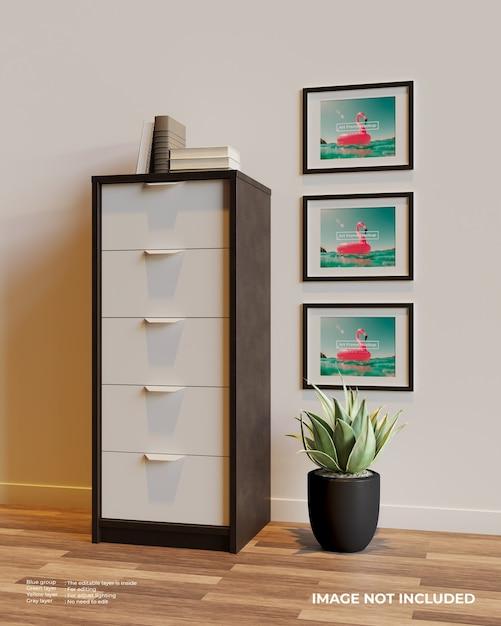 Drie horizontale frame poster mockup naast de kast boven de planten Premium Psd