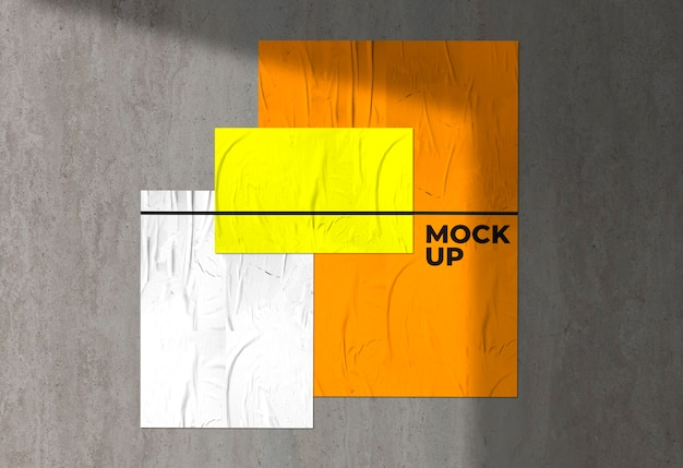 Drie kleurrijke verfrommelde posters mockup Gratis Psd