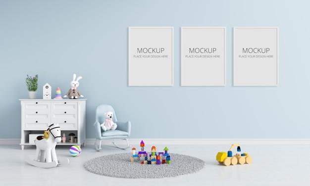 Drie lege fotolijstjes voor mockup in de kinderkamer Premium Psd