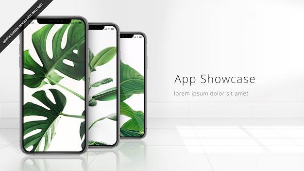 Drie pixel perfecte iphone xs op een betegelde weerspiegelende vloer, uhd-model Premium Psd