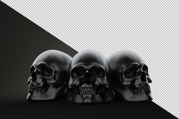 Drie schedel op het blok stilleven maken op zwarte achtergrond Premium Psd