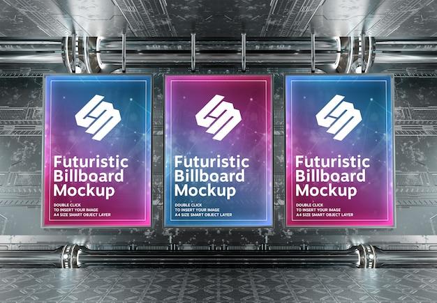 Drie verticale billboards in futuristische underground Premium Psd