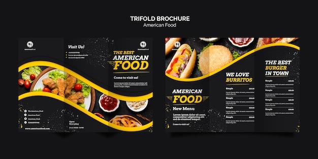 Driebladige brochure amerikaans eten Gratis Psd