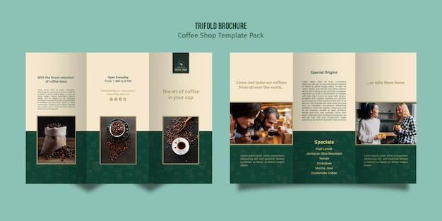 Driebladige brochure koffie winkel sjabloon Premium Psd