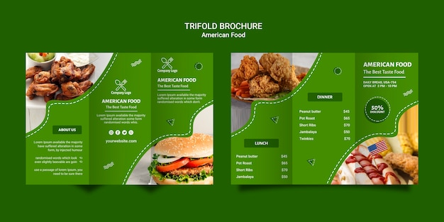Driebladige brochure over amerikaans eten Gratis Psd