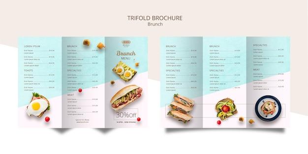Driebladige brochure sjabloon voor brunch Gratis Psd