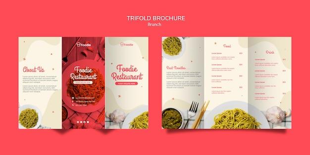 Driebladige brochure sjabloon voor restaurant Gratis Psd