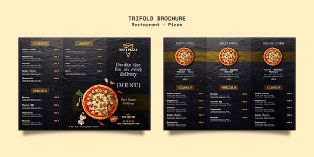 Driebladige brochure voor pizzarestaurant Gratis Psd