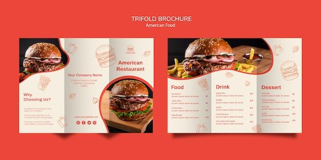 Driebladige brochuremalplaatje voor burgerrestaurant Gratis Psd
