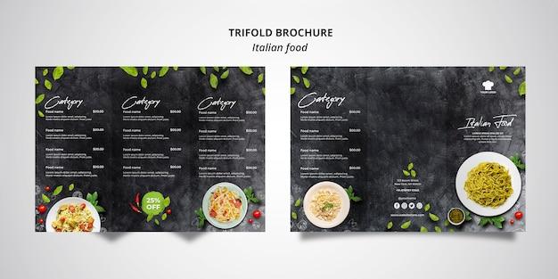 Driebladige brochuremalplaatje voor traditioneel italiaans voedselrestaurant Gratis Psd