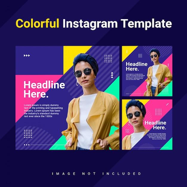 Driehoek instagram feed post sjabloon vrouw kleurrijk helder concept Premium Psd