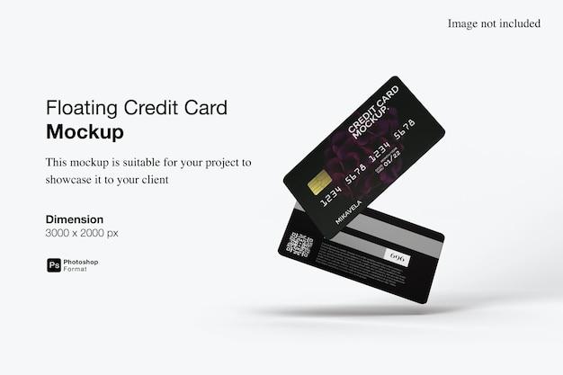 Drijvende creditcard mockup ontwerp geïsoleerd Premium Psd