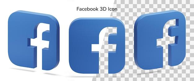 Drijvende geïsoleerde facebook-logo isometrische 3d-pictogramactief Premium Psd