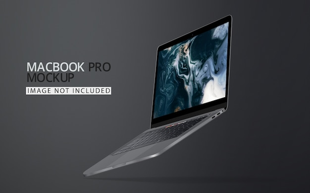 Drijvende laptopmodel Premium Psd