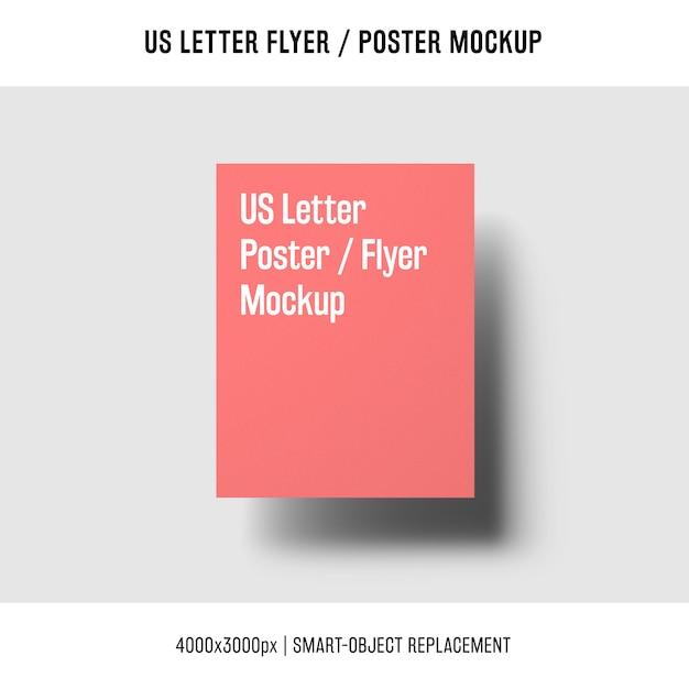 Drijvende ons brief flyer of poster mockup Gratis Psd