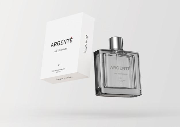 Drijvende parfumfles en verpakking box mockup Premium Psd