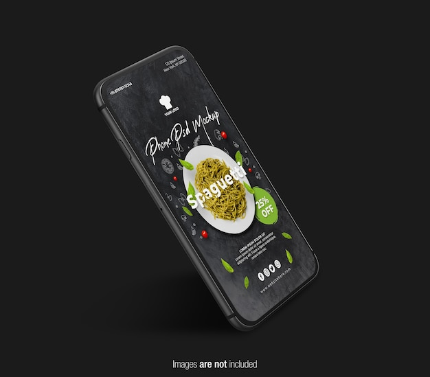 Drijvende zwarte telefoon mockup geïsoleerd Premium Psd