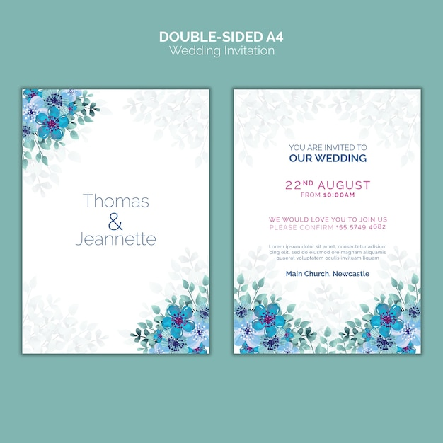 Dubbelzijdige bruiloft uitnodiging sjabloon Gratis Psd