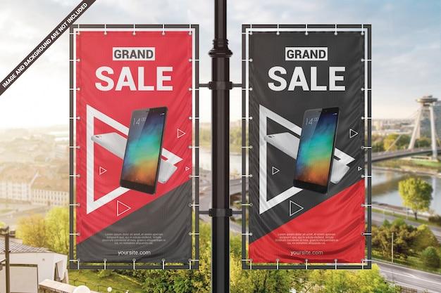 Due banner pubblicitari in vinile sul modello pilastro Psd Premium