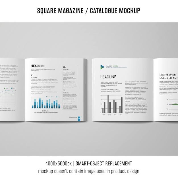 Due modelli di riviste o cataloghi quadrati aperti Psd Gratuite