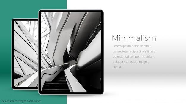 Due pixel perfetti ipad pro ia una stanza minima, mockup uhd Psd Premium