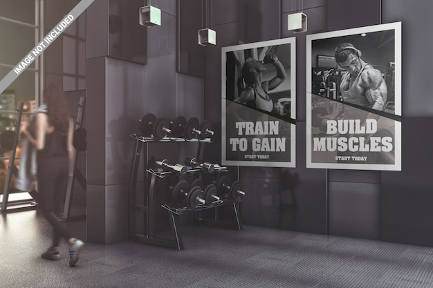 Due poster in moderna palestra mockup Psd Premium